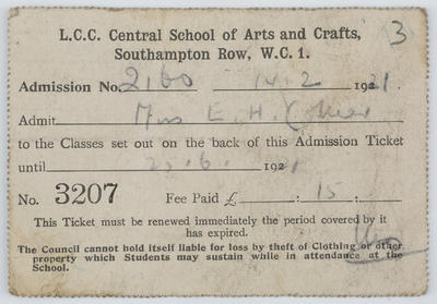 Unknown; Admission ticket to L.C.C. Central School of Arts and  Crafts.; 1921; A2015/1/193