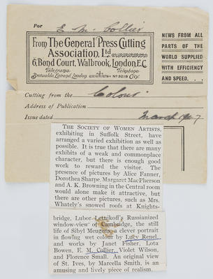 Journal cutting from Colour March 1917. Provided by The General Press Cutting Association Ltd.; Mar 1917; A2015/1/194