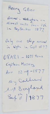 Unknown; Small piece of paper with information about Henry Collier written on it.; A2015/1/195