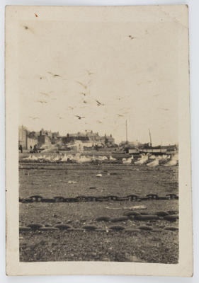 Unknown; Black and white photograph of a beach scene with buildings in the background.; A2015/1/196