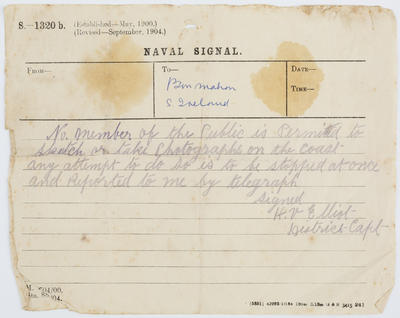 Radio Communication to Bonmahon, S Ireland from the Navy.; A2015/1/198