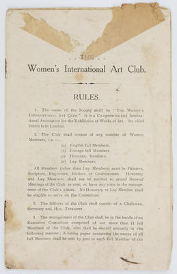 Unknown; Booklet by the Women's International Art Club containing the rules.; A2015/1/205