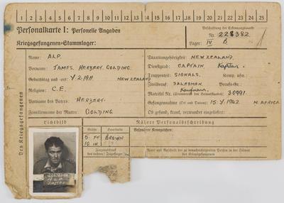 Unknown (German); Prisoner of War registration card for James Alp; Circa 1943; A2021/7/2