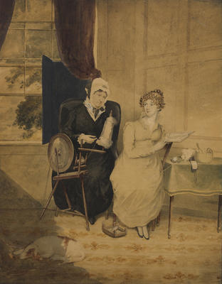 The artist's mother Eliza Gilfillan and his second wife, Mary Gilfillan, in an interior