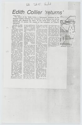 Wanganui Herald; Edith Collier 'returns'; 15 Feb 1980; A2015/1/406