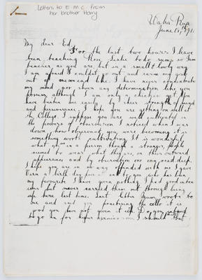 Harry Collier; Letter to EMC from brother Harry, June 18th; Unknown; A2015/1/421