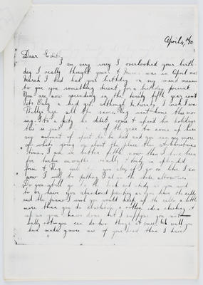 Harry Collier; Letter to EMC from brother Harry, April 4 1910; 04 Apr 1910; A2015/1/422