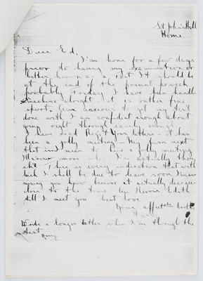 Harry Collier; Letter to Edith Collier from brother Harry, St John's Hill; Unknown; A2015/1/423