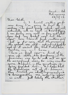 Harry Collier; Letter to Edith Collier from brother Harry, June 28 1916; 28 Jun 1916; A2015/1/424