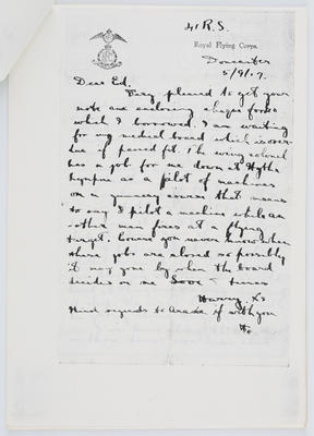 Harry Collier; Letter to Edith Collier from her brother Harry 5 September 1917; 05 Sep 1917; A2015/1/426