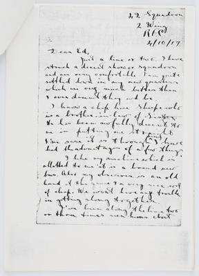 Harry Collier; Letter to Edith Collier from her brother Harry 4 October 1917; 04 Oct 1917; A2015/1/427