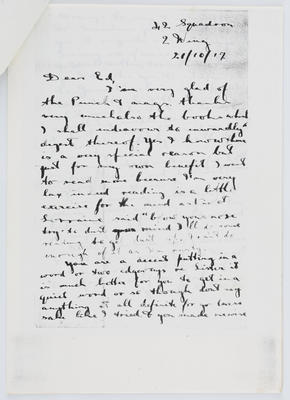 Harry Collier; Letter to Edith Collier from her brother Harry 21 October 1917; 04 Oct 1917; A2015/1/428