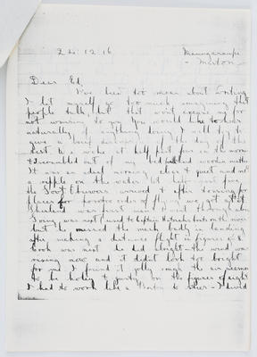 Harry Collier; Letter to Edith Collier from her brother Harry 24 December 1916; 24 Dec 1916; A2015/1/430