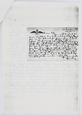 Harry Collier; Postcard to Edith Collier from her brother Harry 25 April 1917; 25 Apr 1917; A2015/1/431