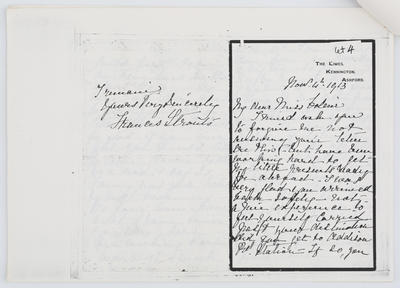 Frances Strout; Letter to Edith Collier from Frances Strouts 4 Nov 1913; 18 Feb 1921; A2015/1/436