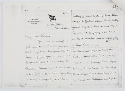 Amy Ayliff; Letter to Edith Collier from Amy Ayliff 2 Nov 1914; 02 Nov 1914; A2015/1/437