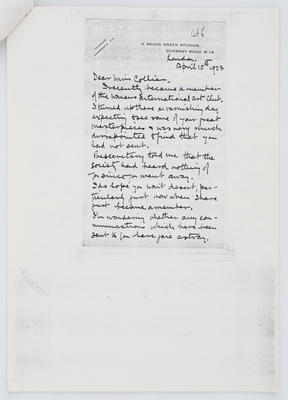 J Littlejohns; Letter to Edith Collier from J Littlejohns 10 April 1923; 10 Apr 1923; A2015/1/438