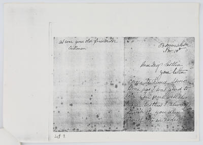 M Cullinan; Letter to Edith Collier from M Culliman 18th November year unknown; Unknown; A2015/1/441
