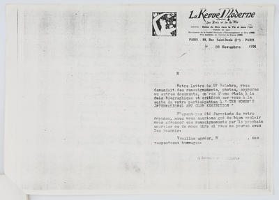 Unknown; Letter to Edith Collier from La Revue Moderne 28th November; Unknown; A2015/1/442