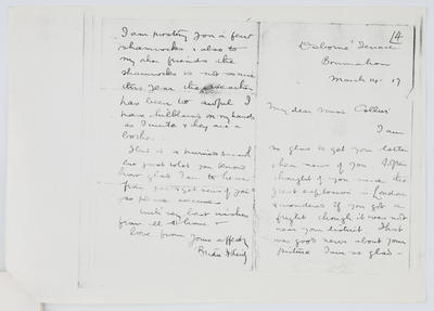 Bridie Reidy; Letter to Edith Collier from Bridie Reidy 14 March 1917; 14 Mar 1917; A2015/1/443