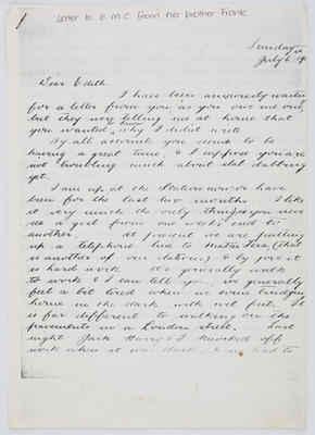 Frank Collier; Letter to Edith Collier from her brother Frank Sunday July 6th year unknown; Unknown; A2015/1/444