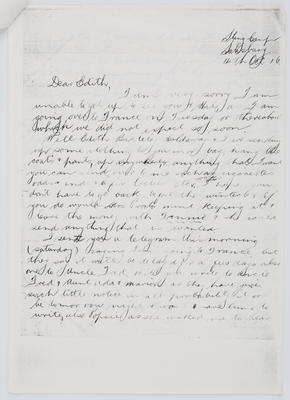 Reg Collier; Letter to Edith Collier from her brother Reg 14 October 1916; 14 Oct 1916; A2015/1/446