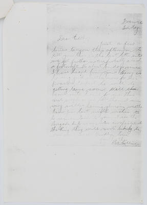 Reg Collier; Letter to Edith Collier from her brother Reg, France 3 May; Unknown; A2015/1/447