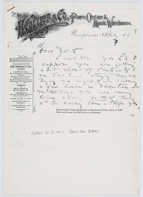 Henry Collier; Letter to Edith Collier from her father 29 August year unknown; Unknown; A2015/1/448