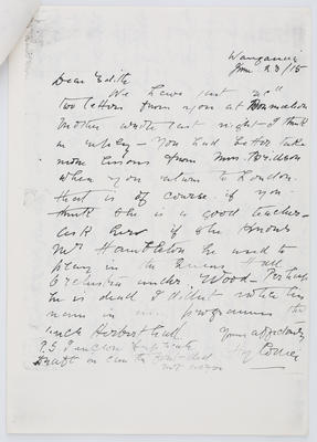 Henry Collier; Letter to Edith Collier from her Father 23 June 1915; 23 Jun 1915; A2015/1/449