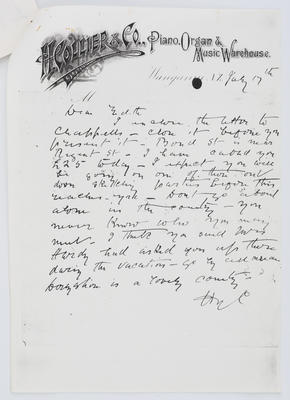 Henry Collier; Letter to Edith Collier from her Father 17 July year unknown; Unknown; A2015/1/452