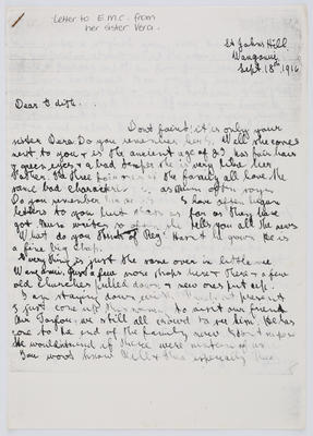 Vera Collier; Letter to Edith Collier from her sister Vera Sept 18 1916; Unknown; 18 Sep 1916; A2015/1/453