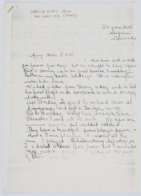 Thea Collier; Letter to Edith Collier from her sister Thea April 16 year unknown; Unknown; A2015/1/454