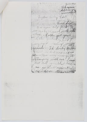 Thea Collier; Letter to Edith Collier from her sister Thea September 9 year unknown; Unknown; A2015/1/455