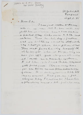 Dolly Collier; Letter to Edith Collier from her sister Dorothy 1 Sept 1915; Unknown; 01 Sep 1915; A2015/1/456