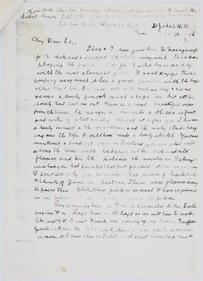 Dolly Collier; Letter to Edith Collier from her sister Dorothy April 10, 1916; Unknown; 10 Apr 1916; A2015/1/457