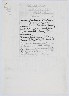 Edith Collier; Letter from Edith Collier to her parents; Unknown; A2015/1/458
