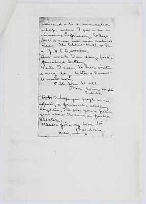 Edith Collier; Parts of letter from Edith Collier to her parents; Unknown; Unknown; A2015/1/459