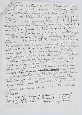 Edith Collier; Parts of a letter from Edith Collier to her parents 19 April 1915; Unknown; 19 Apr 1915; A2015/1/460