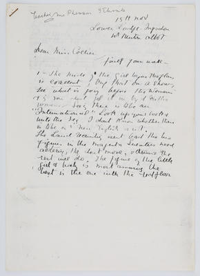 Margaret Preston; Letter to Edith Collier from Margaret McPherson; Unknown; Unknown; A2015/1/461