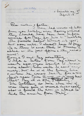 Edith Collier; Letter from Edith Collier to her parents April 16, 1928; 1928; A2015/1/462