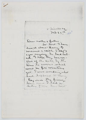 Edith Collier; Letter from Edith Collier to her parents February 2 year unknown; Unknown; A2015/1/463