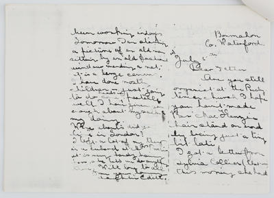 Edith Collier; Letter from Edith Collier to her Father July 5; Unknown; A2015/1/464