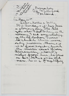 Edith Collier; Letter from Edith Collier to her parents May 11 year unknown; Unknown; A2015/1/465