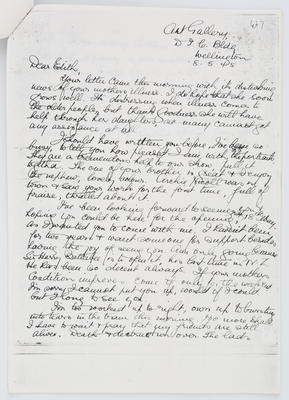Mary Fuller; Letter to Edith Collier from Mary Fuller 8 May 1945; 08 May 1945; A2015/1/439