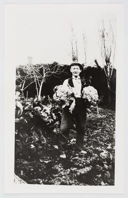 Unknown; Photograph of man holding two cauliflowers; Unknown; A2015/1/477