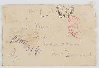 Envelope addressed to J.C. Brodie, Wanganui