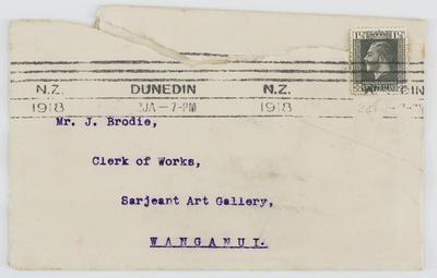 Envelope addressed to Mr. J. Brodie, Sarjeant Art Gallery