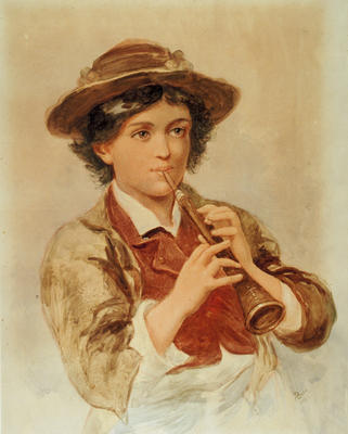 Portrait of a Boy Playing a Pipe