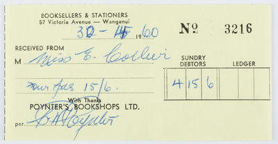 Unknown; Reciept to Edith Collier from Poynter's Bookshops Ltd; 30 Apr 1960; A2015/1/480