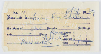 Unknown; Reciept to Edith Collier from unknown issuer; 06 Mar 1959; A2015/1/481